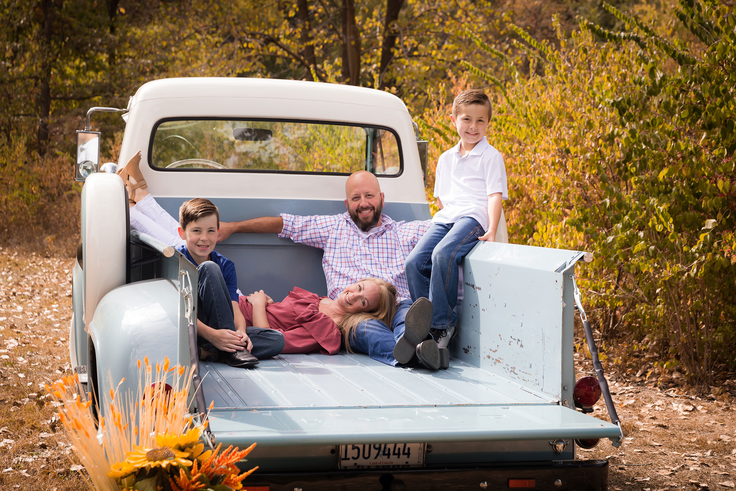 family-blue-vintage-truck